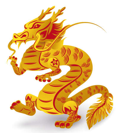 Impressive dragon of Chinese Zodiac with long whiskers, claws, feathered tail and standing on its hind legs, decorated with flowers, lines, golden and red colors, isolated over white background.