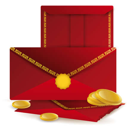 Scene with red envelopes decorated with patterns and golden coins isolated over white background, to celebrate Chinese New Year.