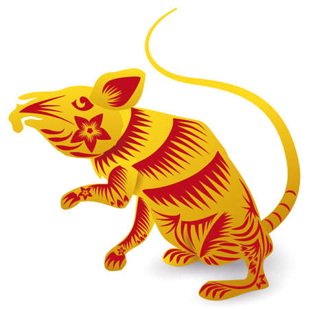 Cute rat standing on its hind legs with lines, petals and flowers in golden and red colors, representing this animal in Chinese the Zodiac, isolated over white background.