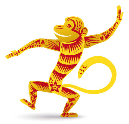 Funny monkey of Chinese Zodiac dancing and enjoying the new year, decorated with lines, flowers and petals in golden and red colors, isolated over white background.