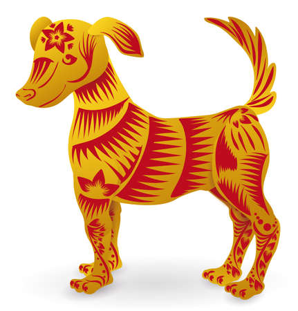Friendly and cute dog of Chinese Zodiac in golden and red colors, decorated with lines, flowers and petals. Isolated over white background. 矢量图像