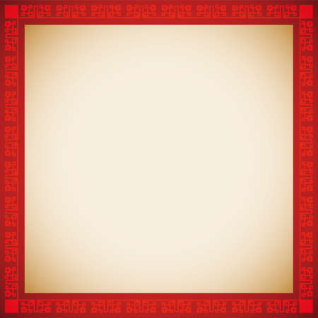 Squared design with red border and Chinese frame pattern and empty scroll template. 矢量图像