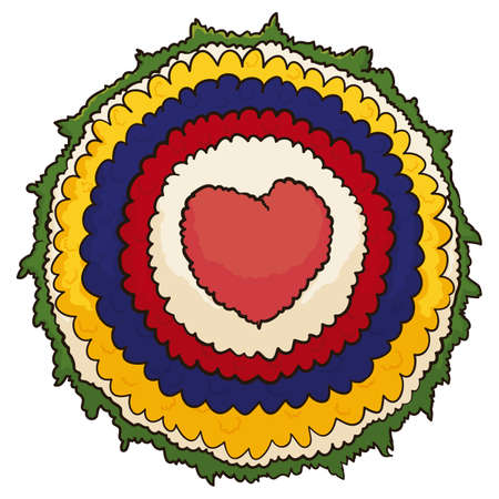 Isolated round Silleta design with Colombian flag colors and heart shape for the Festival of the Flowers, in cartoon style. Vetores