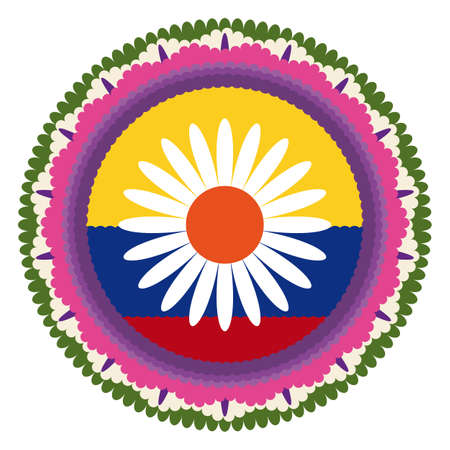 Emblematic round Silleta decorated with Colombian flag colors and flower design, for the traditional parade of Festival of Flowers.