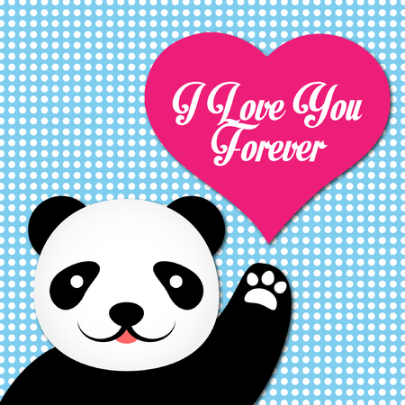 Valentine Card With Cute Panda Vector