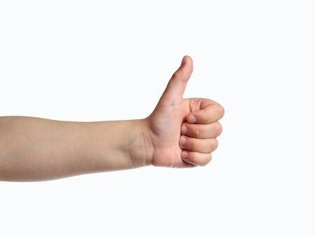 Kid hand show thumbs up sign. Like symbol