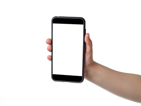 Kid hand holding smortphone with white screen for your text. Isolated Stock Photo