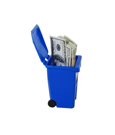 moola: Recycling bin used to collect items to be reused, Going green to help preserve our natural resources, Money in the form of many large bills