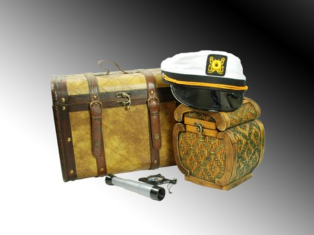 old items: A pair of old cases for storing items, White Nautical hat with black brim and yellow braids, Telescoping telescope used to see distances, Compass used for navigational purposes