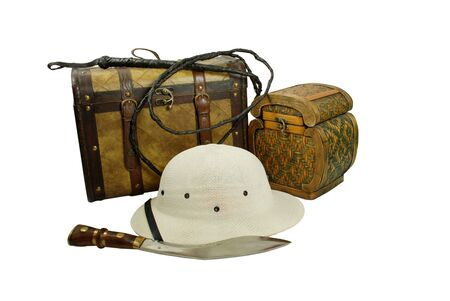 pith: A pair of old cases for storing items, Pith helmet worn during explorations to protect the head from sun stroke, Large hunting knife made of metal and wood, Whip made of woven leather