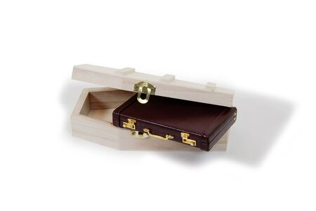 Small wooden coffin with a metal clasp with leather Briefcase used to carry items to the office Stock Photo - 3953825