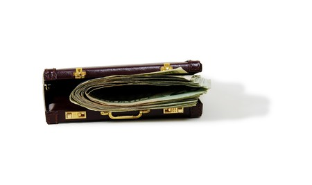 moola: Burgandy leather suitcase used to carry items to the office, Money in the form of many large bills