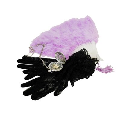 Silver pocket watch with a metal chain, Lace Gloves with a delicate pattern, delicate pastel feather Fan with tassles