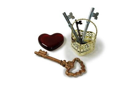 jailer: Metal Heart basket with intricate patterns, red glass heart, Antique Keys representing unlocking an idea, treasure, or love