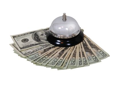 moola: Ring bell for service usually placed on a desk, money in the form of many large bills