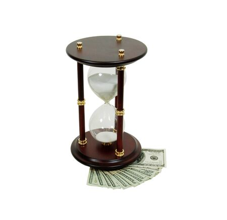 moola: Hour glass used to measure time, Money in the form of many large bills Stock Photo