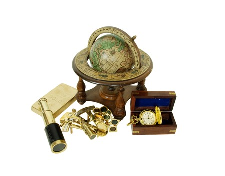 Gold pocket watch with a metal chain, Brass Sextant used for navigating by the stars, Telescoping telescope used to see distances, Closeup of a gold coin purchased as an investment, Old world globe with basic navigation notations