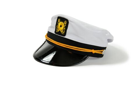 brim: White Nautical hat with black brim and yellow braids