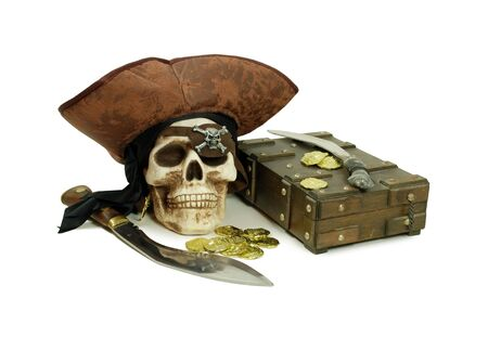 old items: Pirate Skull with eye sockets and teeth with gold and other booty, Closeup of a gold coin purchased as an investment, Large hunting knife made of metal and wood, old case for storing items Stock Photo