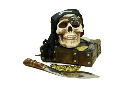 booty: Pirate Skull with eye sockets and teeth with gold and other booty, Large hunting knife made of metal and wood, Skull with eye sockets and teeth, an old cases for storing items Stock Photo