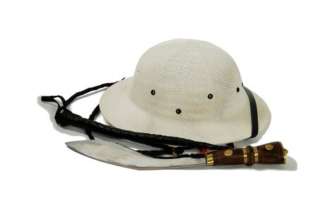 Large hunting knife made of metal and wood, Pith helmet worn during explorations to protect the head from sun stroke, whip made of leather Stock Photo - 3954394