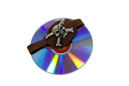pirated: Pirate Skull eye patch and a purple dvd with red interiors