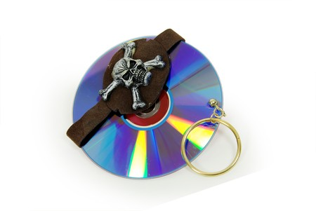 Pirate Skull with gold earring and purple dvds with red interiors photo