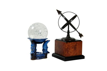 Crystal ball for seeing into the future with miniature bubbles inside, Sundial telling the number of hours to go or the years left