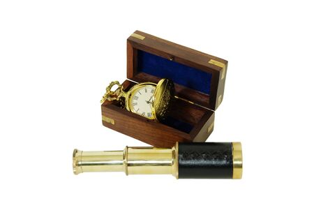 inlays: Wooden box with brass corner inlays, Telescoping telescope used to see distances, Gold pocket watch with a metal chain
