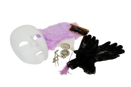 White Mask, Delicate pastel feather Fan with tassles, Lace Gloves with a delicate pattern, Antique opera glasses used to view distant events, Silver pocket watch with a metal chain Stock Photo - 3954183