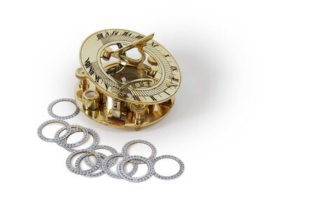 Date wheels from mechanical watches, Sundial telling the number of hours to go or the years left