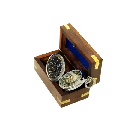 inlays: Gold pocket watch with a metal chain, Wooden box with brass corner inlays