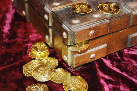 booty pirate: Pirate treasure chest with gold coins Stock Photo