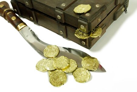An old case for storing items, Large hunting knife made of metal and wood, Closeup of a gold coins purchased as an investment, Pirate treasure chest with gold coins Reklamní fotografie - 3954434