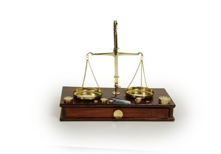 Brass and wood Scale used to weigh out small items  Фото со стока