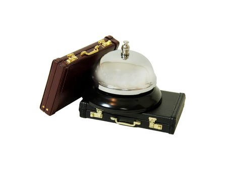travelling salesman: Service bell for service usually placed on a desk with leather briefcases used to carry items to the office