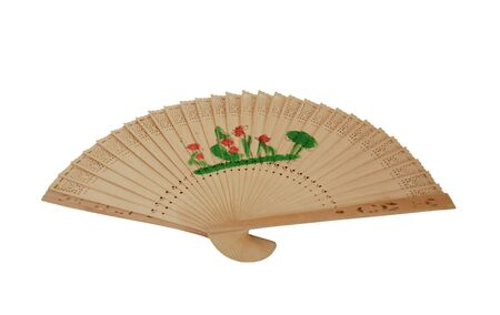 Delicate Asian Fan with intricate pattern made of wood