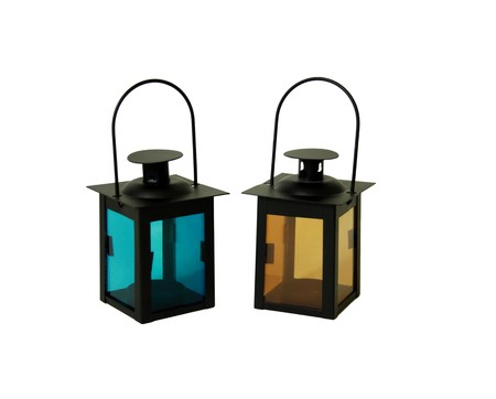 Two bright colored lanterns with handles