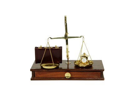 personal decisions: Leather briefcase used to carry items to the office, measuring time passing with a clock, brass and wood Scale used to weigh small items
