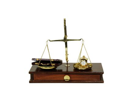 Measuring time passing with a clock, leather briefcase used to carry items to the office, brass and wood Scale used to weigh small items