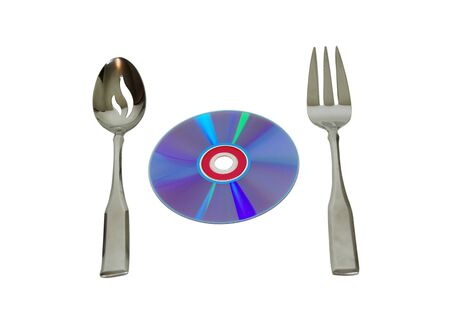 Purple DVD with serving spoon and fork on white
