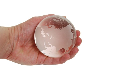 etch: Crystal globe with navigational lines