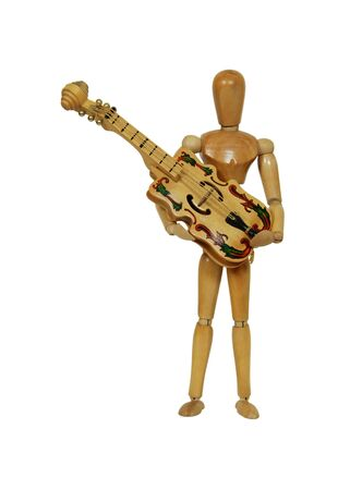 Holding a stringed musical instrument against a white background Stock Photo - 4036995