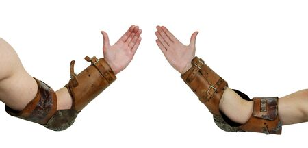 arm: Medieval bracer period armor displaying power worn for arm wrestling Stock Photo