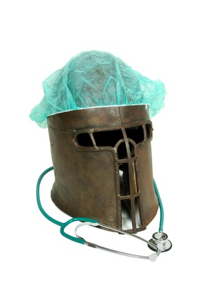 labratory: Outdated and antique equipment, medical items, medieval helm  Stock Photo