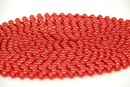 Red beads coiled together to make an interesting texture
