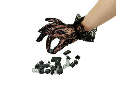 esc: Various computer keyboard keys including home, with lace Gloves with a delicate pattern