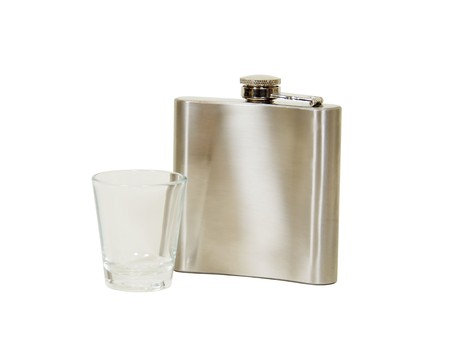 Metal flask to transport liquor easily and shot glass