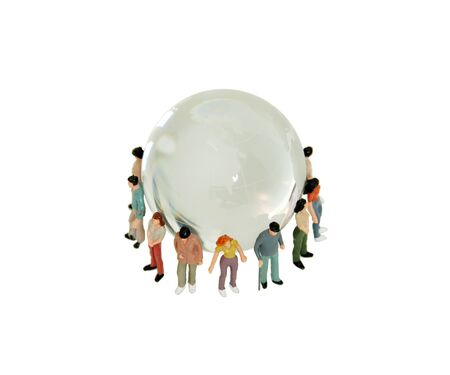 A variety of people grouped together to represent diversity around a crystal globe with navigational lines