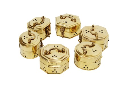 Intricate cricket boxes made of brass with fancy hardware Imagens